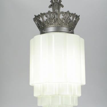 Art Deco Commercial Pendant with Choice of Skyscraper Shade  (two available) #2079  SHIPPING INCLUDED by vintagefilament