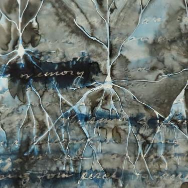The Ache of Memory: Original ink painting on yupo of neurons - neuroscience art literature Graham Greene by artologica
