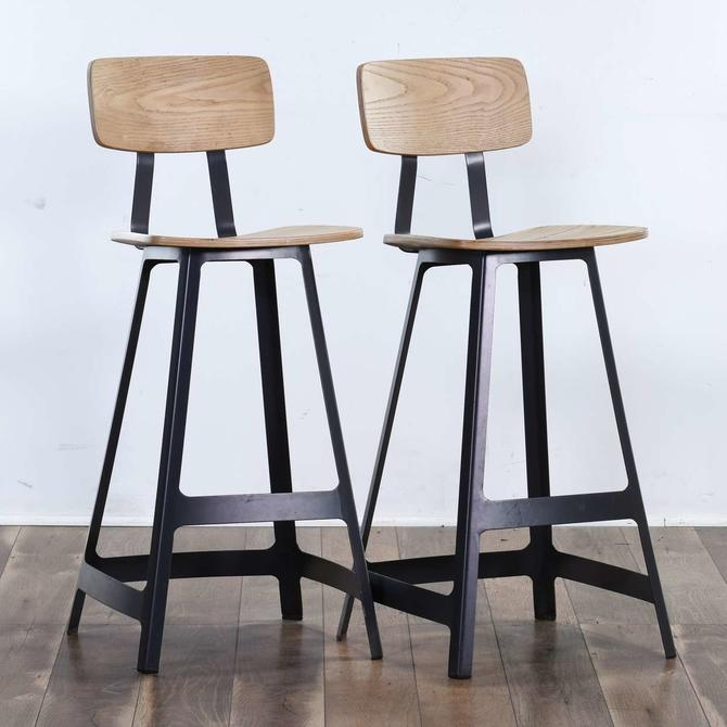 Pair Modernist Industrial Bar Stools