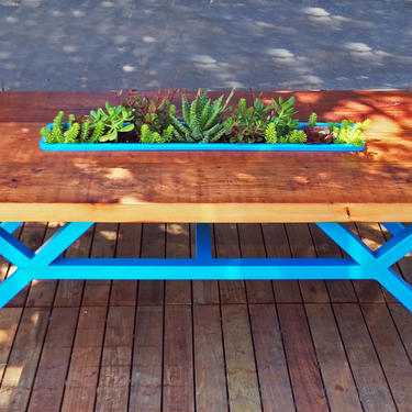 Reclaimed Wood Succulent Table *(Example)*Redwood Coffee Table-Rustic Coffee Table-Living Table-Succulent Inlay-Modern-Industrial Furniture by LucasAhlstrand