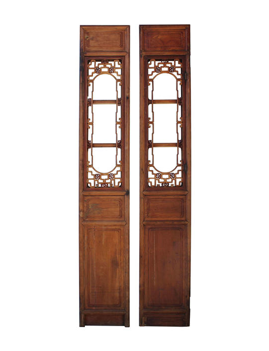 Pair of Vintage Chinese Window Opening Tall Wood Panel Screens cs3248E by GoldenLotusAntiques