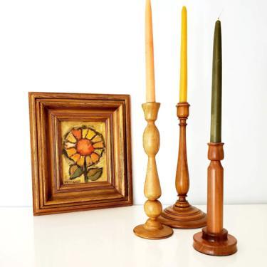 Vintage Turned Wood Tall Mismatched Candlestick Holder Set by pennyportland