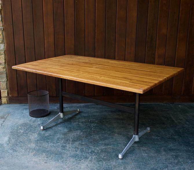 1960s Vintage Herman Miller Work Desk Dining Table Industrial Mid-Century Modern by BrainWashington