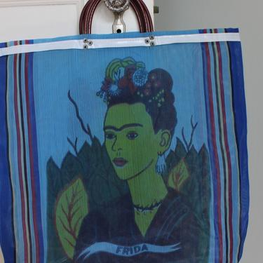 Vintage Frida Kahlo Colorful Striped Pattern Mesh Market Tote by NeonSkyVintageMN