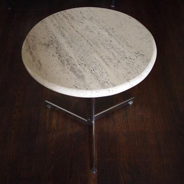 """Rare Vintage STENDIG Eichenberger ALPHA Side End TABLE, Travertine top 20"""" round, chrome marble Danish Mid-Century Modern eames knoll era by refugegallery"""