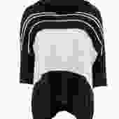360 Cashmere - Oversized Black & Beige Striped Turtleneck Cashmere Sweater Sz XS