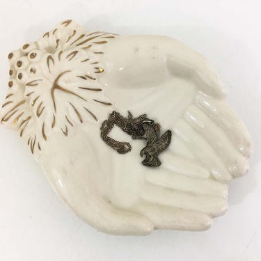Vintage White Hand Ashtray Jewelry Holder Trinket Bowl Ring Dish Mid-Century Japan Praying Hands Ash Tray Smoking Air Plant Holder Planter by CheckEngineVintage