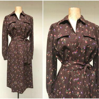 "Vintage 1970s Brown Floral Print Shirt Dress, 70s Adele Simpson Summer Weight Wool Tulip Print Dress, Medium 40"" Bust by RanchQueenVintage"