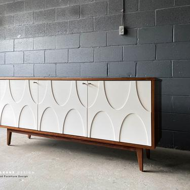 New Hand-Crafted Walnut Credenza with wood relief design by MarthaLeoneDesign