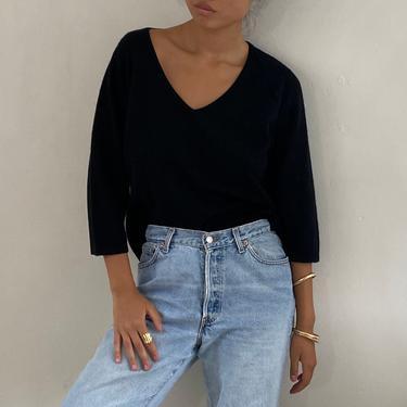 90s cashmere sweater / vintage black noir pure cashmere deep V neck boxy easy sweater | M by RecapVintageStudio