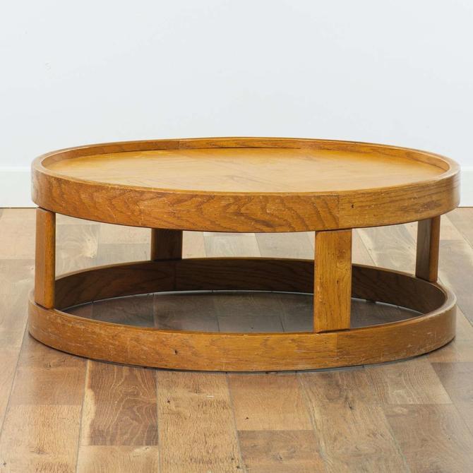 Howard Mid Century Modern Round Oak Coffee Table