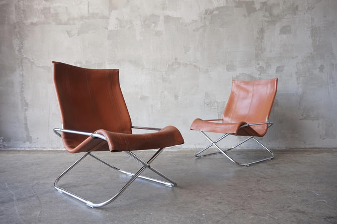 Takeshi Nii Leather Lounge Chairs by FandFVintage