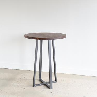 Walnut Pub Table / Counter or Bar Height / Industrial Round Bistro Table / Restaurant Cafe Table by wwmake