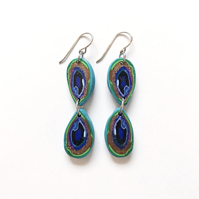 Peacock earrings - handmade with polymer clay and sterling silver by ChrisBergmanHandmade