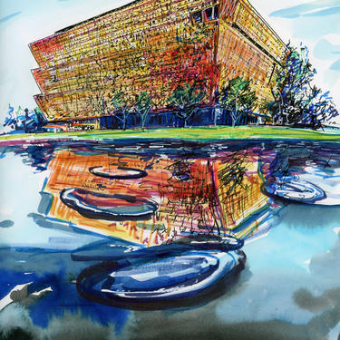 National Museum of African American History and Culture Original Art Print by Cris Logan Art by CrisLoganArt