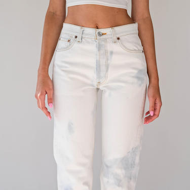 Vintage 80s Levis Bleached Light Wash 501 High Waisted Button Fly Jeans | Made in USA | Size 28 | 1980s LEVIS Boho Boyfriend Denim Pants by TheVault1969