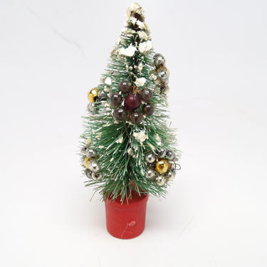 Vintage 1940's Bottle Brush Christmas Tree, Mercury Glass Beads Ornaments, Retro Doll House Decor by exploremag