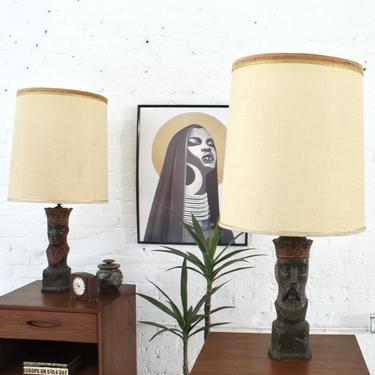 1960's Carved Wood King & Queen Table Lamps Pair