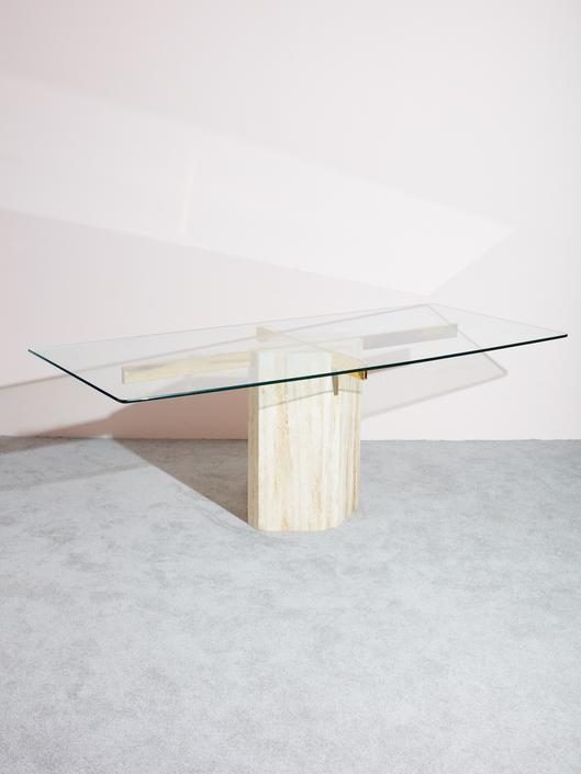 1980s Glass and Travertine Console