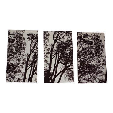 Vintage Authentic Marimekko Tuuli 3 Fabric Art Panels Tree Wall Mural 1970's