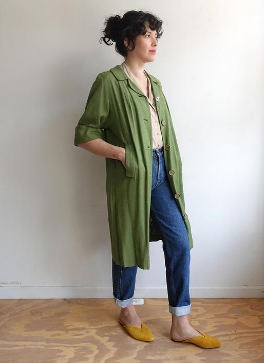 Vintage 60s Green Spring Coat/ 1960s Textured Quarter Sleeve Jacket/ Size Medium by bottleofbread