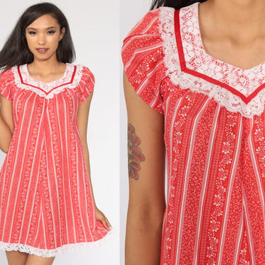 Red Floral Dress 70s Lace Dress Tent Dress Cotton Mini Summer Festival Hippie Bohemian Vintage Trapeze Boho Hawaiian Extra Small xs by ShopExile