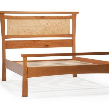 """Bed Frame King Size, Headboard, Scandinavian, Danish Modern, Shaker, Asian, Cherry, Curly Maple, Queen, Full, Twin, Inlay, Curves, """"Seaside"""" by NathanHunterDesign"""