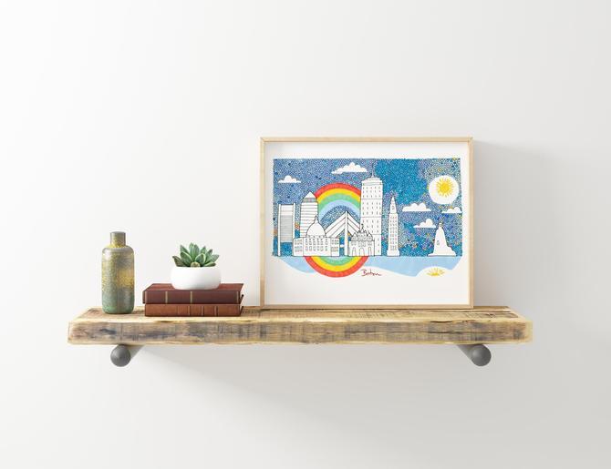 Boston skyline illustration - Wall art by VioletredStudio