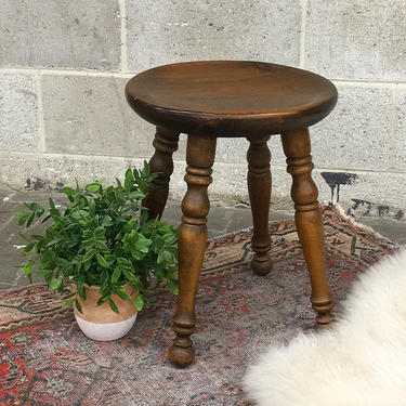 Vintage Wood Stool Retro 1960s Furniture By Baumritter + Ethan Allen + Vanity or Piano + Brown + Round + Spindle Legs + Seat or Plant Stand by RetrospectVintage215