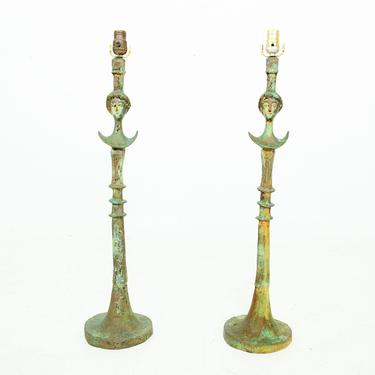 Elegant Pair of Tete de Femme Bronze Table Lamps after Giacometti 1950s by AMBIANIC