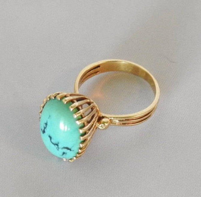 14K yellow gold, turquoise, high set ring by LegendaryBeast