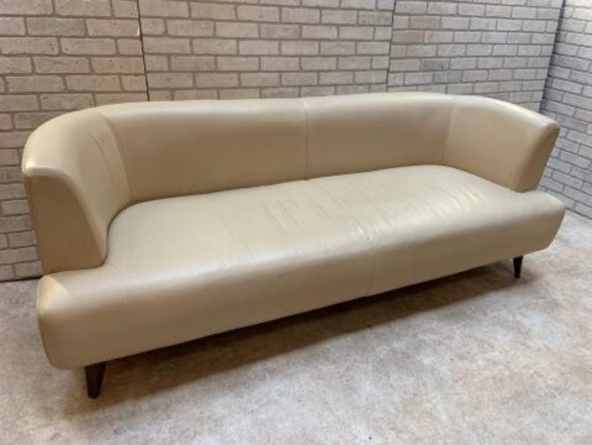 Mid Century Modern Adrian Pearsall Style Vinyl Cream Curved Sofa