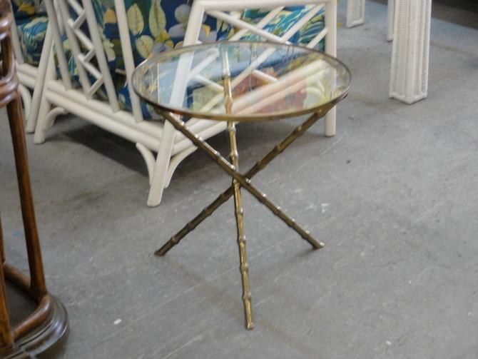 Mastercraft Faux Bamboo Brass Side Table