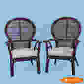 Pair of Rattan Balloon Back Arm Chairs