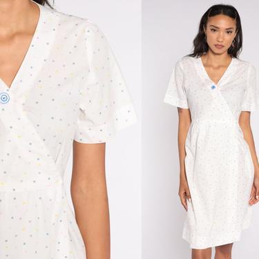 80s Mini Dress White Polka Dot Button Up Dress Secretary Wrap V Neck 1980s Short Sleeve Vintage Retro Preppy Medium 8 by ShopExile
