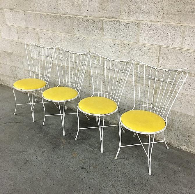 LOCAL PICKUP ONLY Vintage Dining Chairs Retro 1960s White Metal + Yellow Vinyl Set of 4 Matching High Back Indoor Outdoor Patio Chairs by RetrospectVintage215