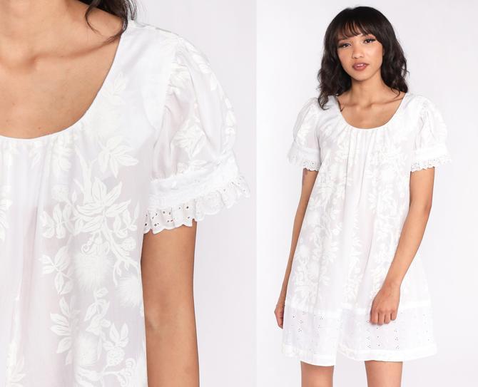 Floral Puff Sleeve Dress 0s Mini Dress EYELET LACE White Boho Shift Tent 1980s Bib Vintage Bohemian Minidress Small Medium by ShopExile