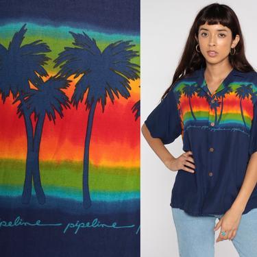 Tropical Palm Shirt 80s PALM TREE Shirt Dark Blue Hawaiian SURFER Shirt Button Up Shirt 1980s Summer Top Beach Sea Large L by ShopExile