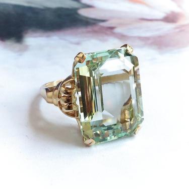 SOLD— Installment 2of2 due 10/12—Vintage Retro 19.88ct. Emerald Cut Aquamarine Statement Cocktail Birthstone Ring 14K by YourJewelryFinder