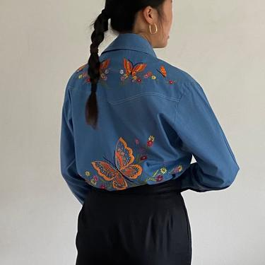 70s hand embroidered butterfly chambray shirt / vintage hand made embroidered botanical soft blue snap up western shirt blouse   M L by RecapVintageStudio