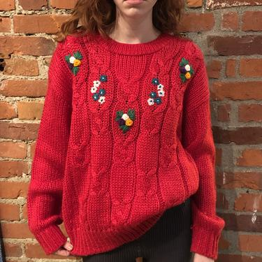 80s Red Chunky Sweater