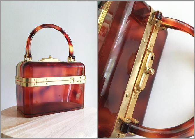 Made In France Brown Tortoise Lucite Box Purse 1970s by hemlockvintage