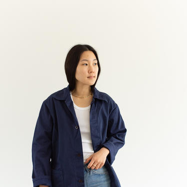 Vintage Blue Chore Coat   Unisex Cotton Military Utility Work Jacket   Made in Italy   M   IT213 by RAWSONSTUDIO