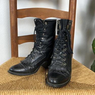 Vintage Capezio Black Leather Ropers / Combat Boots / Lace -Ups by DesertCactusVintage