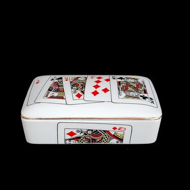 Vintage 1970s Modern Porcelain Playing Cards Box with 2 Compartments Japan with Cards Graphics by SwankyChaperooo