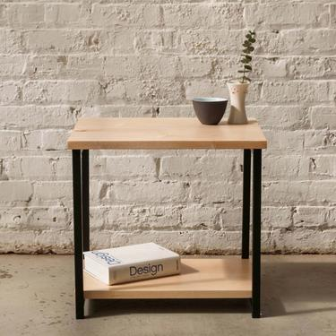 The Watson End Table - Maple with Black Powder Coated Steel -Side Table, Free Shipping by HerbsFurniture