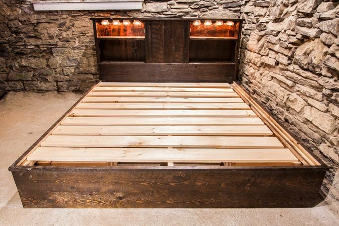 Rustic Reclaimed Platform Bed with Drawers and Lighting by BarnWoodFurniture