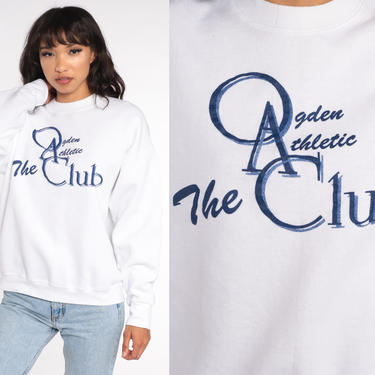 Ogden Athletic Club Shirt -- Utah Sweatshirt 80s Retro Slouchy Pullover Gym 1980s Graphic White Vintage Medium Large by ShopExile