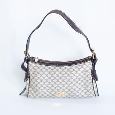 Vintage CÉLINE Macadam Canvas and Leather Triomphe Small Shoulder Bag Baguette Logo Monogram Celine Baguette Minimal 90s Y2K by backroomclothing