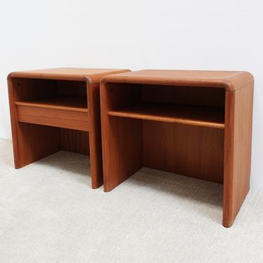 Kibaek Mobelfabrik A/S Nightstands Danish Modern Teak Denmark Mid Century Modern Side Tables End Vintage Rounded Curved 70s by 330Modern